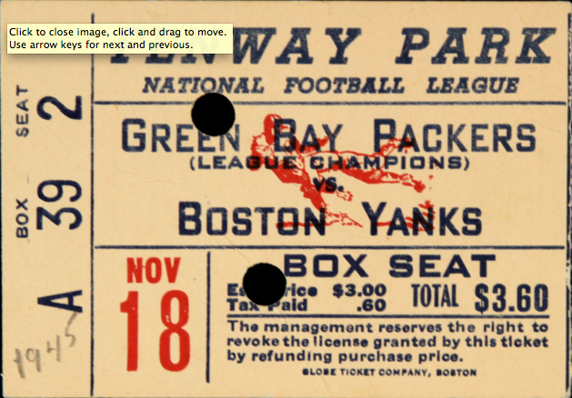 1945 Green Bay Packers vs. Boston Yanks at Fenway Park Ticket Stub